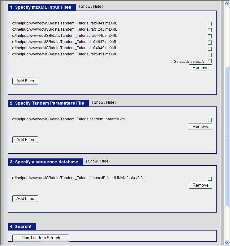 TPP Tandem search - SPCTools